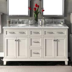 Find budget Carolina 60 Double Bathroom Vanity Set By Lanza White Vanity Bathroom, Modern Bathroom, Master Bathroom, Bathroom Ideas, Bathroom Vanities, Bathroom Designs, Small Bathroom, Lake Bathroom, White Bathrooms