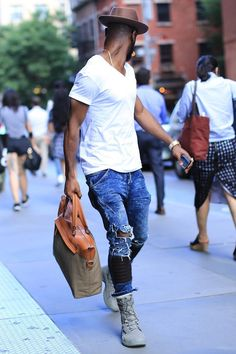 V neck tee/ white Pima tee/ ripped Jean/ vintage Jean/ vintage denim/ summer boot/ messenger bag/ men's wear/ men's fashion/ street style #streetstyle