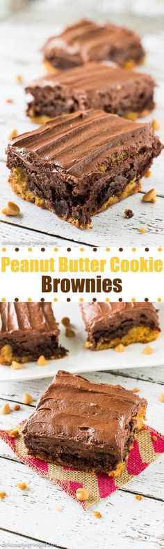 A recipe for Peanut Butter Cookie Brownies. Frosted peanut butter cookie topped with a layer of brownies and frosted with whipped chocolate peanut butter frosting. Brownie Recipes, Cookie Recipes, Dessert Recipes, Peanut Butter Desserts, Peanut Butter Cookies, Just Desserts, Delicious Desserts, Yummy Food, Eat Dessert First