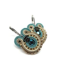 Teal Earrings Bridal Drop earrings Teal di BeadsNSoutache su Etsy