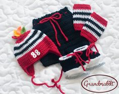 Want this!!! BABY HOCKEY HAT Crocheted Baby Boys Helmet Hat with Number and Feathers, Pants, Socks and Skates Newborn/ 0-3 Months