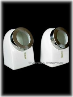Retro Set 2 Ceramic White Kitchen Canisters / Glass Lids by American Chateau. $9.99