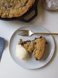 Dark Chocolate Chunk and Walnut Skillet Cookie | www.acozykitchen.com