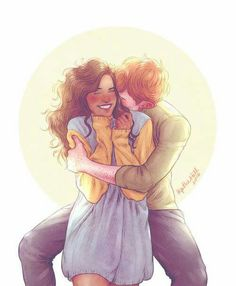 Ron and Hermione By upthehillart