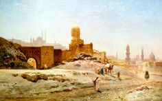 A View Of Cairo, 1875 By Ernst Koerner - German Oil on canvas Art Commerce, Mediterranean Architecture, Conan The Barbarian, Beautiful Streets, Sword And Sorcery, Fantasy Setting, Cairo Egypt, Street Artists, Banksy