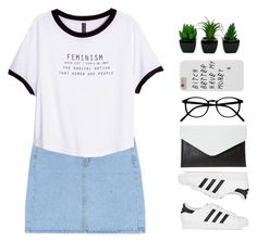 """Untitled #1795"" by tacoxcat ❤ liked on Polyvore featuring H&M and adidas Originals"