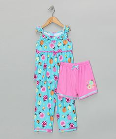 Take a look at this Pink & Turquoise 'Love Bug' Pajama Set - Toddler & Girls by Candlesticks on #zulily today!