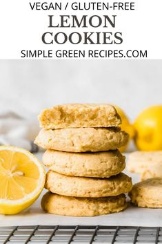 These Vegan Lemon Cookies are soft, chewy, buttery and deliciously fragrant. They melt in your mouth, literally! 1-bowl cookies, made with staple ingredients, andready in under 25 minutes! Quick and super easy recipe that leads to perfect cookies every time. #veganlemoncookies #Glutenfreelemoncookies #Lemoncookies Vegan Dessert Recipes, Easy Desserts, Cookie Recipes, Snack Recipes, Bar Recipes, Free Recipes, Sugar Free Cookies, Lemon Cookies, Healthy Vegan Snacks
