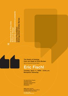paone design associates : poster: 2006 January – University of Pennsylvania / School of Design / Department of Fine Arts: Locks Foundation Lecture Series 4: Eric Fischl