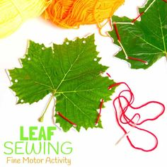 LEAF SEWING - A fun Fall craft for kids. This Fall activity and nature craft builds fine motor skills and connects kids the outdoors. An unusual leaf craft kids will love. Creative Activities For Kids, Creative Arts And Crafts, Autumn Activities For Kids, Nature Activities, Fall Crafts For Kids, Creative Kids, Outdoor Activities, Leaf Crafts Kids, Toddler Crafts