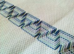 Huckweave or Swedish Weaving. Swedish Embroidery, Types Of Embroidery, Beaded Embroidery, Cross Stitch Embroidery, Embroidery Patterns, Hand Embroidery, Geometric Embroidery, Swedish Weaving Patterns, Monks Cloth