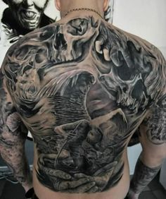 Awesome Full Back Body Demon Tattoo