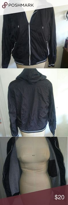 H & M Windbreaker Jacket Black H & M jacket . size large . thick inside. Perfect for now cold weather. No major flaws. Has a little bend in zipper part but Doran not effect jacket zipping up and down. H&M Jackets & Coats Puffers