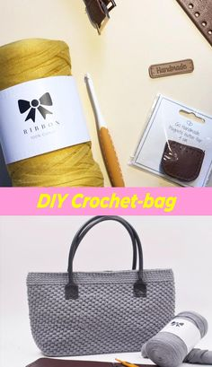 Ribbon is perfect for home decor such as bags carpets pillows baskets potho Diy Crochet Bag, Crochet Crafts, Diy Crochet Pillow, Crochet Bag Tutorials, Crochet Market Bag, Fabric Crafts, Knitted Baby Clothes, Knitted Bags, Knit Bag