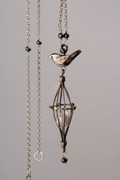 "Necklace | Cathy Newell Price.  ""Bird and Pearl"""