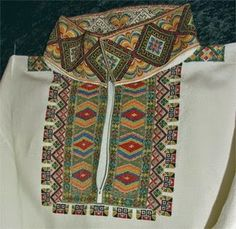 FolkCostume&Embroidery: East Telemark, Norway, embroidered shirts for Raudtrøye and Beltestakk Norwegian Style, Folk Fashion, Folk Costume, Embroidered Shirts, Unique Dresses, Traditional Dresses, World Of Fashion, Norway, Betta