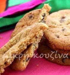 Αμερικάνικα μπισκότα με βρώμη και σταγόνες σοκολάτας