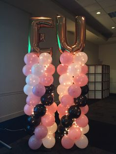 Balloon Arch Twins Pink Gold White Twice The