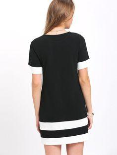 Black White Patchwork Short Sleeve Shift Dress