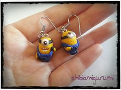 Minion earrings charm chibi with random face in polymer clay from despicable me movie