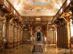11. Melk Monastery Library, Austria  The Baroque-styled abbey and the library within were completed in 1736 based on designs by Jakob Prandtauer. The library includes a world-famous collection of musical manuscripts and features stunning frescoes by artist Paul Troger.