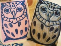 Owl Stamp Hand Carved linoleum 2 x 3 Made to by AyuTomikawaART, $16.00
