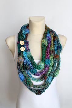 Knit Infinity Scarf - Rainbow Knitted Shawl - Infinity Neckwarmer - Handknit Snood - Knit Hood - Winter Thick Scarf - Cowl Scarf