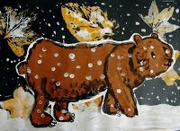 Brown Bear in Fall/Winter Scene. Visual Art Lesson.