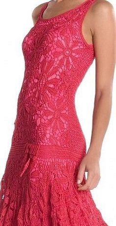 Beautiful red crochet dress perfect for evening outings.  Check out sweater, crochet blanket style at http://knitting-pro.com/