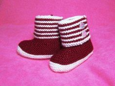 Free Baby Knitting Pattern! Boot Style Red and White Baby Booties for Cold Weather