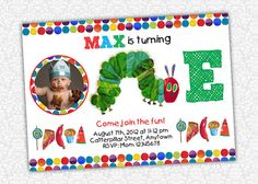 Very Hungry Caterpillar Invitation by PrintSparkle on Etsy, $8.00