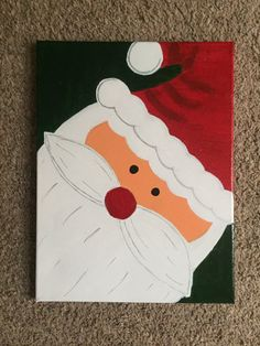 Santa is keeping an eye on you! This painting is the perfect addition to your Christmas decorations this year. This painting is hand drawn and