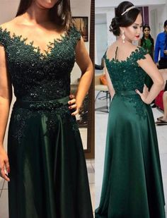 Green Satin and Applique A-line Evening Gowns Green Beaded Long Formal Dresses Prom Dress CR 1482 Bridal Dresses 2018, Wedding Dresses, Bride Dresses, Party Dresses, Evening Party Gowns, Evening Dresses, Sexy Dresses, Formal Dresses, Groom Dress