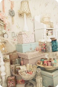 Shabby chic craft room This would be my heaven shabby chic and a craft room together.Oh My Oh My!!!!!!!!!!!!