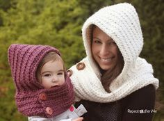 Crochet Pattern Hooded Cowl for s child