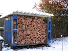 Firewood storage box made from pallets