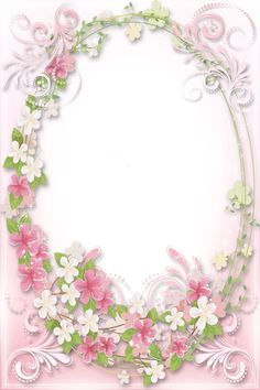 Transparent Soft Pink Flowers Frame   :)
