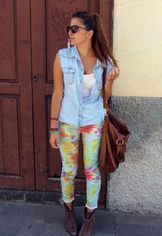 cute floral trousers with denin