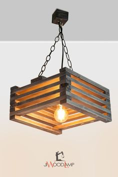 Wood pendant lamp - All For Decoration Rustic Light Fixtures, Rustic Lighting, Lighting Ideas, Kitchen Lighting, Modern Lighting, Lighting Design, Industrial Lighting, Wooden Chandelier, Wooden Lamp