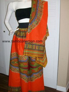 Orange color dashiki print fabric wholesale 6 by tambocollection