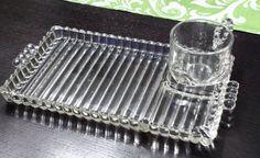 Vintage Hazel Atlas Candlewick Depression Glass Snack Tray and Mug