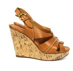 Chloe Tan Leather & Cork Platform Slingback Renna Wedges Size 36.5 $675 Retail #Chloe #PlatformsWedges #Casual
