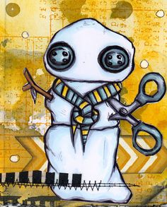 Octopode Factory stamp, Copic, Distress Ink Art Journal