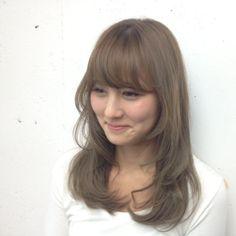 cute cut with bangs + soft curls + cream ash brown hair