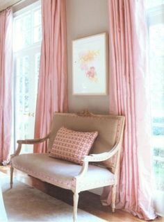 ..Pink silk curtains.