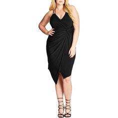 068b45a694 City Chic Womens Black Asymmetrical Faux Wrap Cocktail Dress Plus L 20 BHFO  9356  affilink