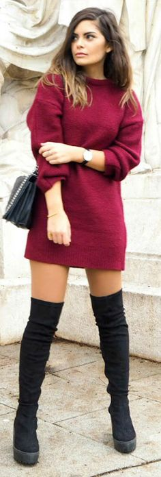 Platform boots are the hottest new trend. The chunky soles on these boots will add a dimension of edginess to any look. Laetitia wears a pair with a cute and festive crimson sweater dress. Via Just The Design. Boots/Dress: ASOS, Jewels: Meriko London, Watch: Daniel Wellington, Bag: Zara.