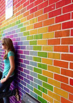 Rainbow wall, love it! Love Rainbow, Taste The Rainbow, Rainbow Wall, Over The Rainbow, Rainbow Colors, Vibrant Colors, Rainbow House, Rainbow Things, Rainbow Magic