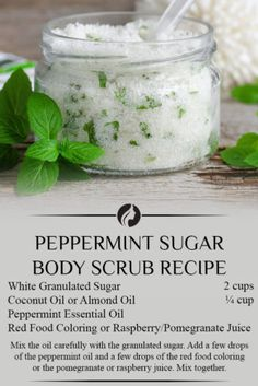 Peppermint Sugar Body Scrub Recipe Here are some simple DIY body scrubs that you can make at home. Body Scrub Recipe, Diy Body Scrub, Sugar Scrub Recipe, Diy Scrub, Natural Body Scrub, Body Scrub Sugar, Exfoliating Body Scrub Diy, Natural Skin, Bath Scrub