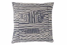 Fish stripe cushion in Indigo Printed Cushions, Indigo, Throw Pillows, Fish, Prints, Cushions, Decorative Pillows, Indigo Dye, Decor Pillows